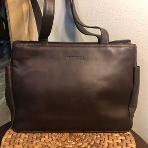 NWOT Kenneth Cole, Smooth Brown Leather, Zip Top